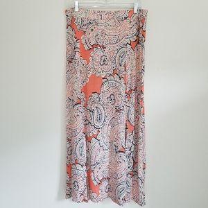 The Limited Orange Paisley Long Maxi Skirt